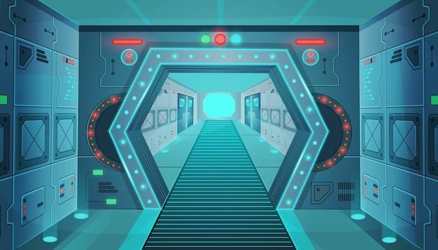 宇宙船のドアのある廊下。漫画背景インテリアルームサイエンスフィクションの宇宙船。ゲームやモバイルアプリケーションの背景。