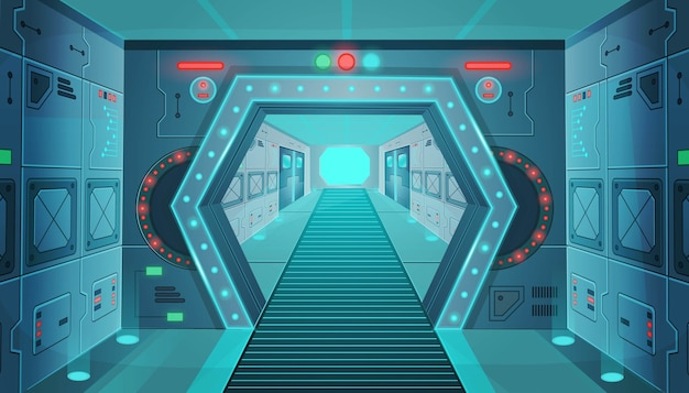 Corridor with a door in a spaceship. cartoon background interior room sci-fi spaceship. background for games and mobile applications.