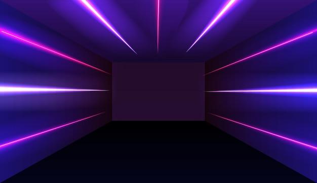 네온 발광 형광등이 켜져있는 복도. 미래 배경.