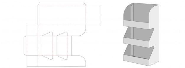Corrugated 3 level display die cut template