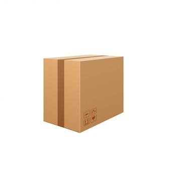 Corrugated box isolated on white background.