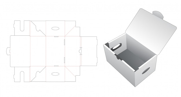 Corrugated carton with handle die cut template
