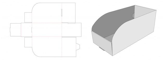 Corrugated display tray die cut template