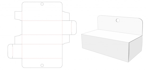 Corrugated hang hole packaging die cut template