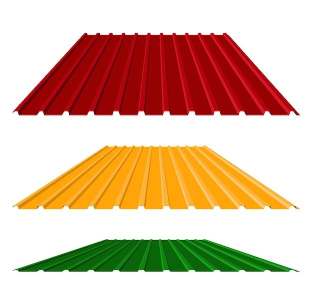 평면 스타일 그림에서 골된 금속 지붕 아이콘