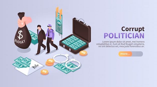 Corrupt politician horizontal banner with set of isometric icons illustrated laundering of budget money with following arrest