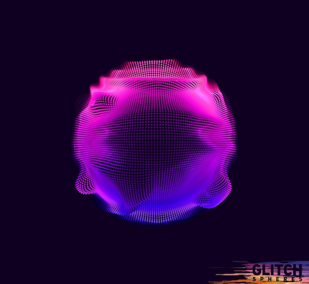 Corrupted violet point sphere. abstract colorful mesh on black