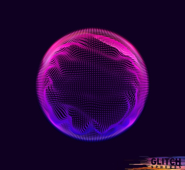 Corrupted violet point sphere. abstract colorful mesh on dark background.