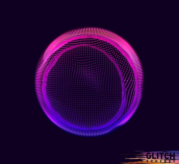 Sfera punto viola corrotta. maglia colorata astratta su sfondo scuro