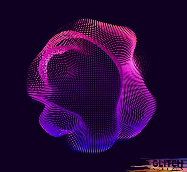 Sfera punto viola corrotta. maglia colorata astratta su oscurità