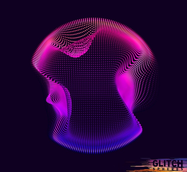 Corrupted violet point sphere. abstract colorful mesh on dark