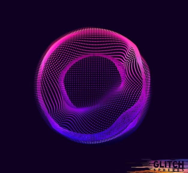Поврежденная фиолетовая сфера. абстрактная красочная сетка на черном фоне