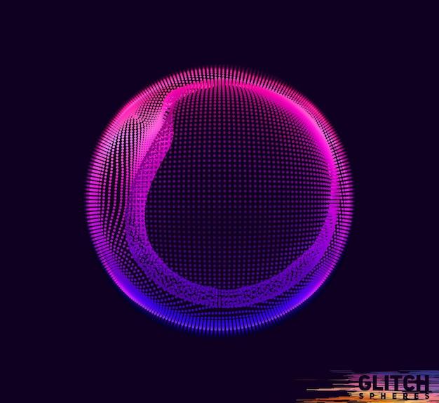 Поврежденная фиолетовая сфера. абстрактная красочная сетка на черном