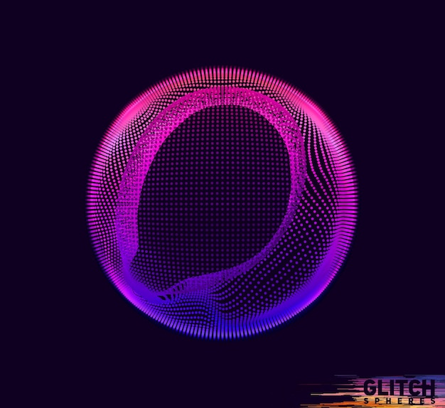 Corrupted violet point sphere. abstract vector colorful mesh on dark. futuristic style card.