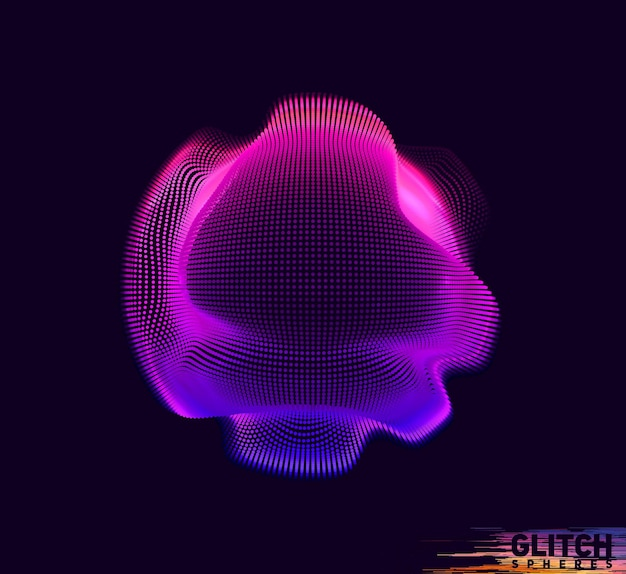 Corrupted violet point sphere on dark background