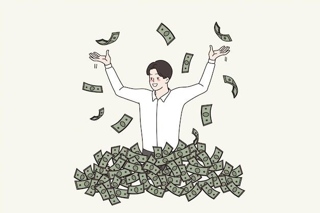 부패와 불법적인 돈 개념입니다. 현금 뇌물 부패 더미에 서 있는 웃고 있는 젊은 사업가 지도자는 지폐 벡터 삽화 주위를 날면서 기분이 좋습니다.