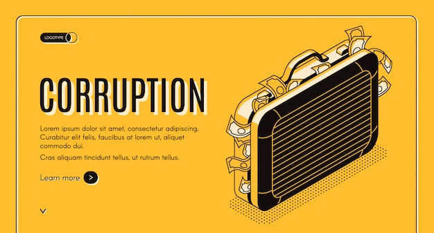 Corruption isometric web banner with suitcase full of criminal money line art illustration.
