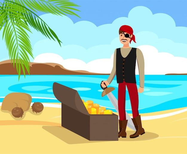 Corsair found treasure flat vector illustration