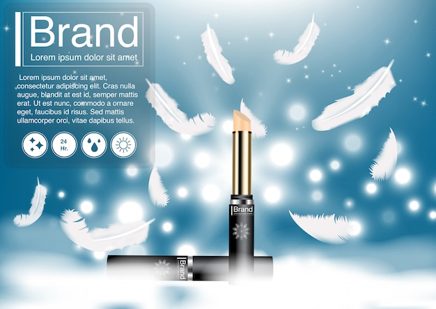 Cosmetic ad feather concealer concept.