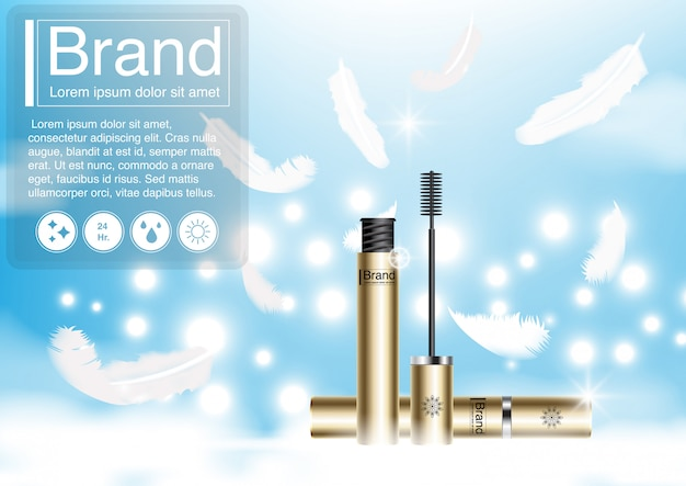 Cosmetic ad feather and mascara .