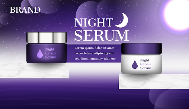 Cosmetic ad, night cream with dark sky and bright moon