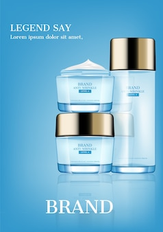 Cosmetic ad, serum and moisturizer on light blue background