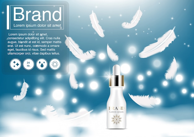 Cosmetic ad serum and feather on sky concept