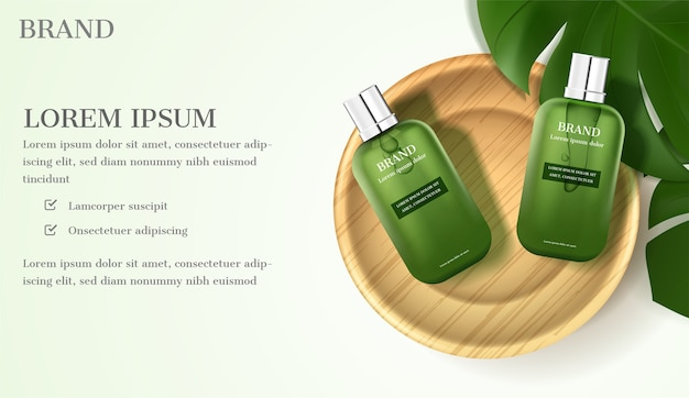 Cosmetic ad. serum with green leaves on light green background