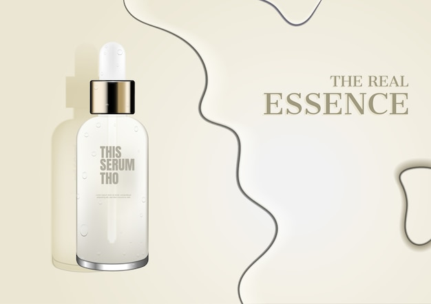 Cosmetic ad, serum with water on beige background