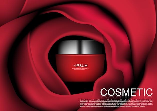 化粧品広告赤い化粧クリーム赤いバラ