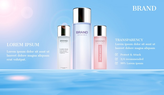 Cosmetic ads. serum on water surface with sunlight