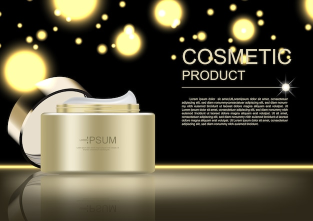 Cosmetic ads template, gold cream and glittering light on dark background