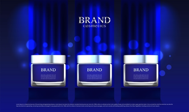 A cosmetic advertisement set on stand blue cloth