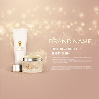 Cosmetic advertisement with pink background and shiny elements