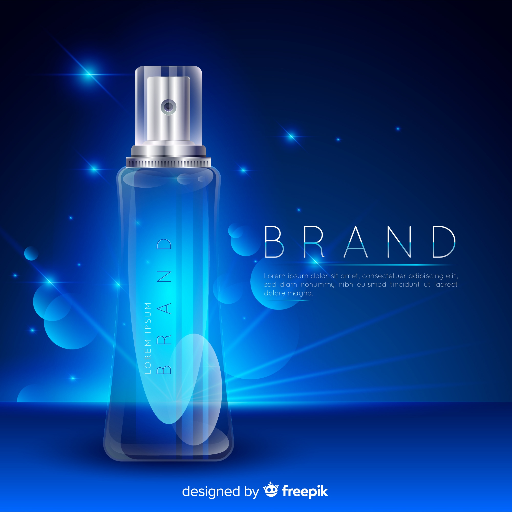 Cosmetic advertisement with realistic design