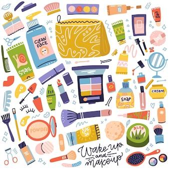 化粧品とメイクアップのコレクション。クリームチューブ、口紅、マニキュア、マスカラー、アイシャドウ、ブラシのセット。女性のもの、女の子のアクセサリー。顔、スキンケア製品。フラット手描きアイコンイラスト