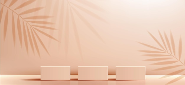 Косметический фон для брендинга продукта и геометрической формы презентации упаковки квадратного литья