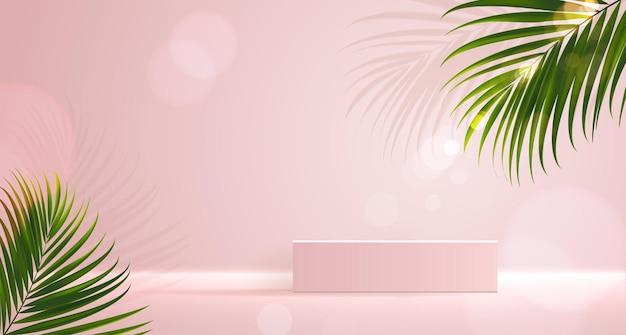 제품 브랜딩 및 포장 프리젠테이션 형상을 위한 화장품 배경은 정사각형 몰딩을 형성합니다.
