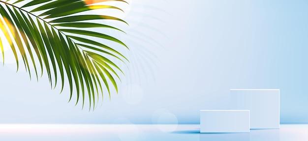 製品のブランディングとパッケージングのプレゼンテーションジオメトリフォームの正方形の成形の化粧品の背景