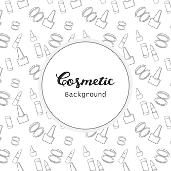 Cosmetic background pattern flat lineart icons vector