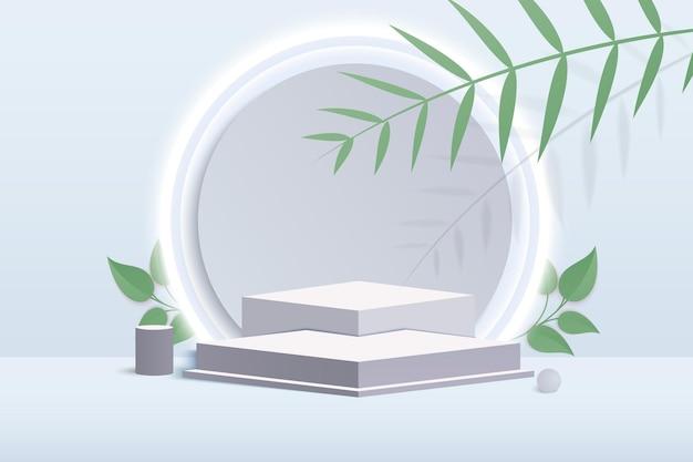 化粧品の背景表彰台。幾何学的な形の最小限のシーン。クリーム色のシリンダー表彰台は灰色の背景です。化粧品を展示するシーン、ショーケース。製品表示用の3dベクトルレンダリング。
