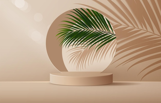 Cosmetic background and premium podium display for product presentation branding.