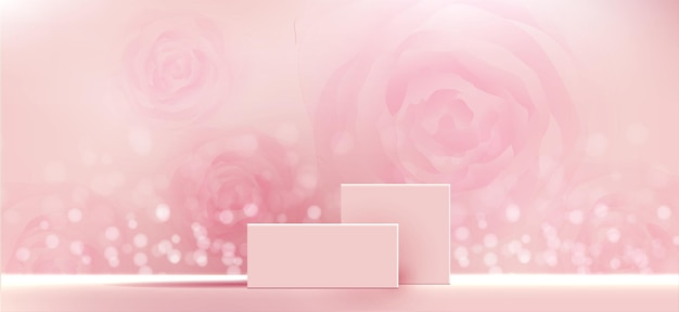 Cosmetic background for product branding and packaging presentation geometry form square molding