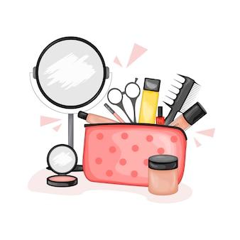 美容アイテムのセットが付いた化粧品袋。漫画のスタイル。