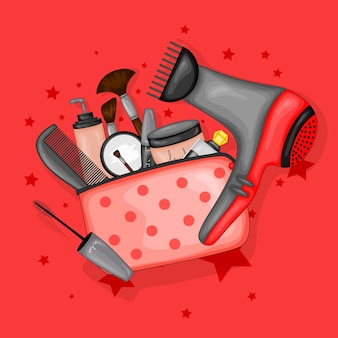 Cosmetic bag with a set of beauty items. cartoon style. vector illustration.