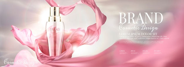 Cosmetic banner ads with spray bottle and flying chiffon