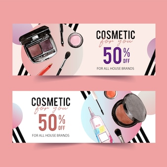 Cosmetic banner design with brush on, eyebrow palette
