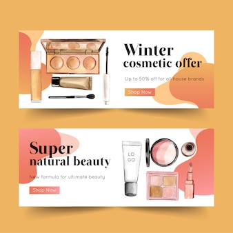 Cosmetic banner design with highlighter, mascara, brush