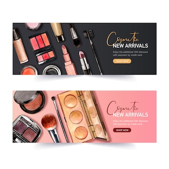 Cosmetic banner design with lipstick, eyeliner, highlighter