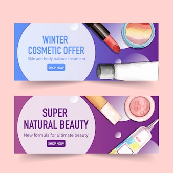 Cosmetic banner design with lipstick, highlighter